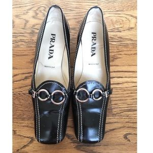 Prada Black Leather Mules with Buckles